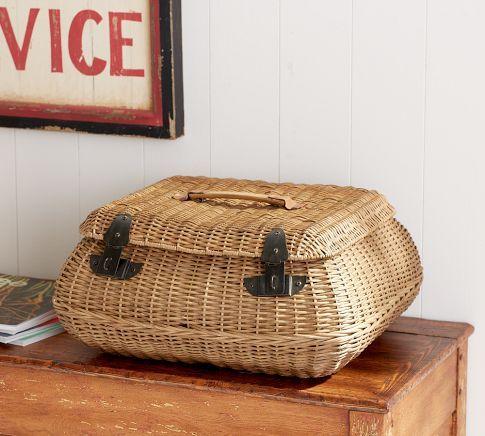 Jacquelyne Curved Lidded Basket | Pottery Barn $71