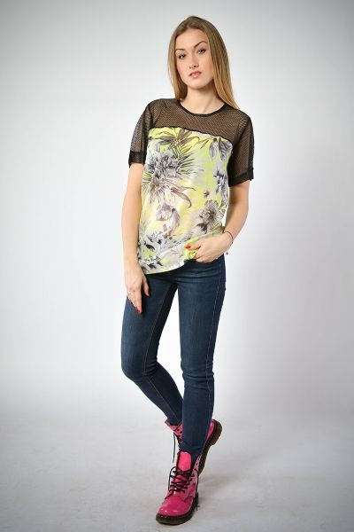 T-shirt - tropical print z siatką - model 06