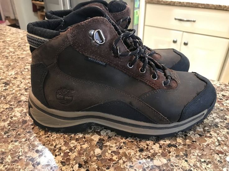 Boys Timberland Boots Size 3.5 Brown Black Leather EUC #Timberland #Boots