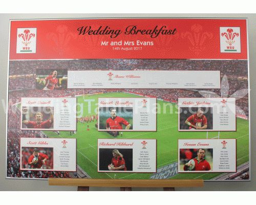 Welsh Rugby wedding table plan with the tables named after your favourite Welsh rugby legends. This table plan is supplied laminated and mounted to rigid board with a mirrored title, and a set of table name cards as part of the package price. #Welshrugby #rugby  #welshwedding ship internationally