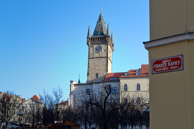 Town hall tower view from the Franz Kafka square, Praha