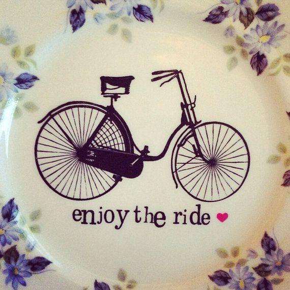 enjoy the ride - vintage bicycle illustration, up-cycled printed vintage plate £14.99
