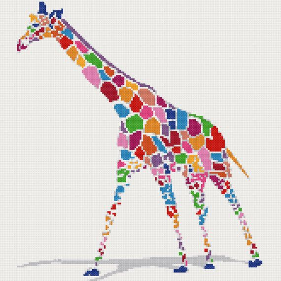 Rainbow giraffe counted cross stitch kit by YiotasXStitch on Etsy, $14.90
