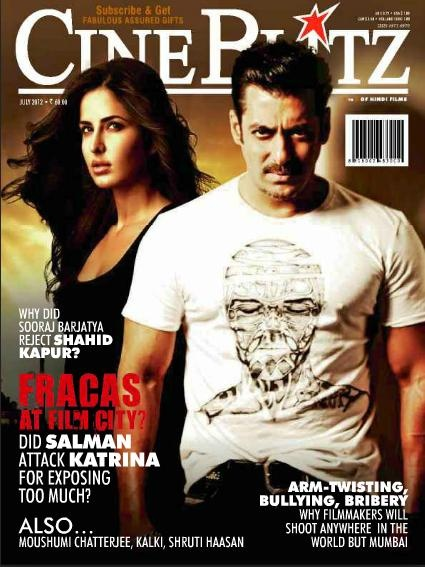 Salman Khan and Katrina Kaif on The Cover of CineBlitz Magazine India July 2012.   Bollywood Cleavage