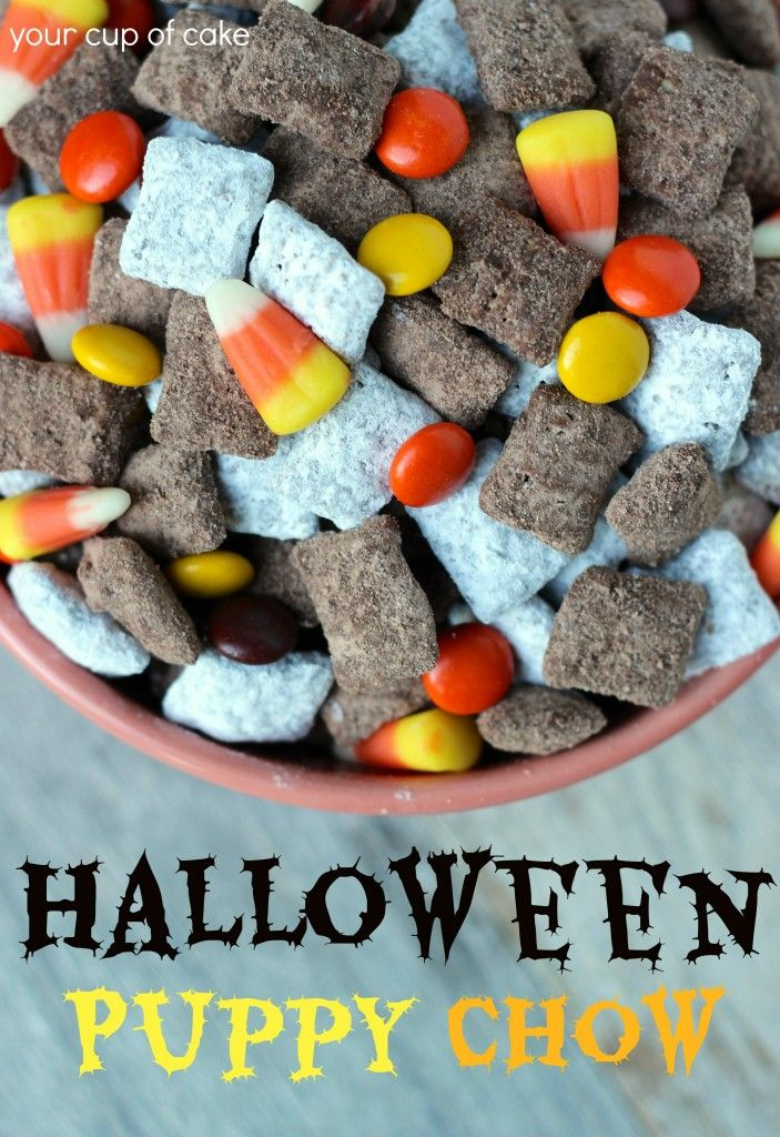 Halloween Puppy Chow�take 2. Don't add too many candy corn. It looks cute but major sugar overload!!