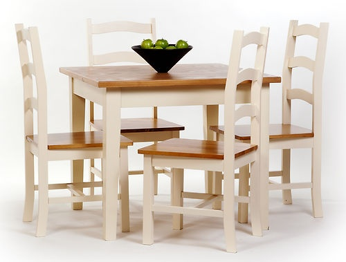 Jamestown Square Dining Set Cream Table & 4 Chairs