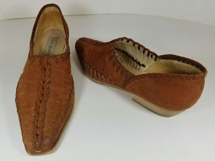 Via Spiga Rust Brown Suede Slip On Low Stacked Closed Toe Shoes Size 6.5 M #ViaSpiga #SlipOn #Any