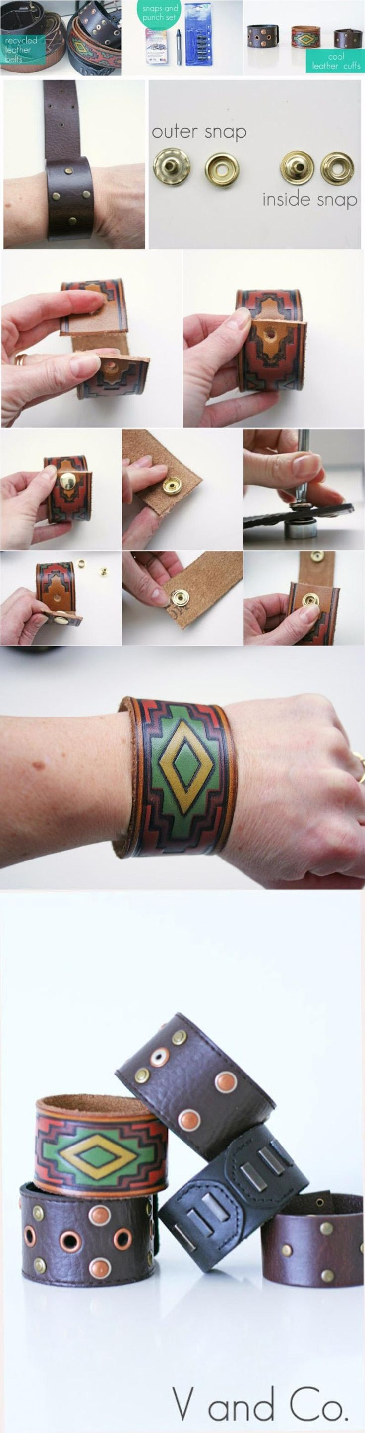 Brazaletes de cuero - vanessachristenson.com - DIY Bracelet From Recycled Leather Belts