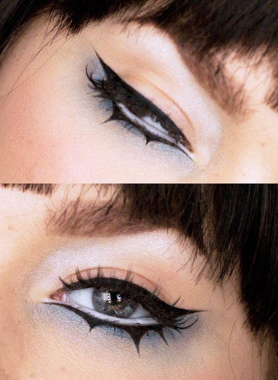 Delineados que tus ojos quieren tener este Halloween Punk Makeup, Grunge Makeup, Gothic Makeup, Eye Makeup Art, No Eyeliner Makeup, Fantasy Makeup, Makeup Inspo, Makeup Inspiration, Emo Eyeliner