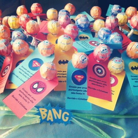 party favors superheroes with lollypop