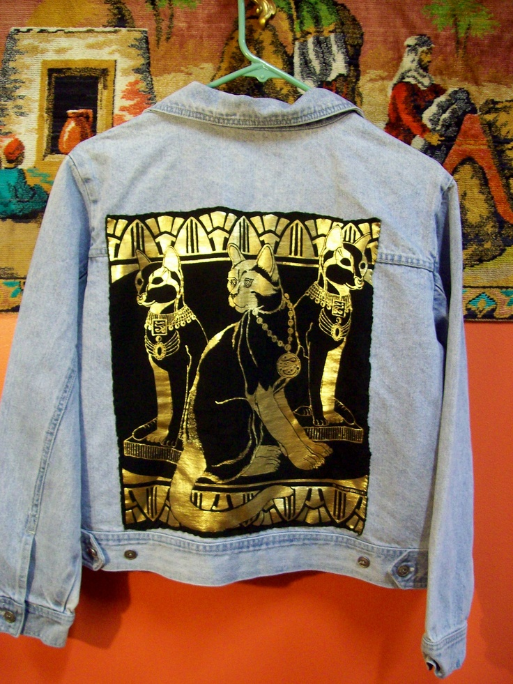 Egyptian Cat Back Patch on Denim Jacket by Sweat Leaf