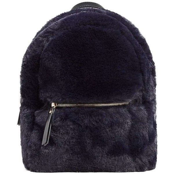 Zipped Faux Fur Backpack ($48) ❤ liked on Polyvore featuring bags, backpacks, long strap bags, zip bag, faux fur backpack, knapsack bag and zipper bag