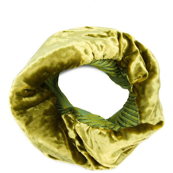 Issey Miyake Velvet Infinity Scarf ($269) ❤ liked on Polyvore featuring accessories, scarves, loop scarves, circle scarf, tube scarf, green infinity scarves and green scarves