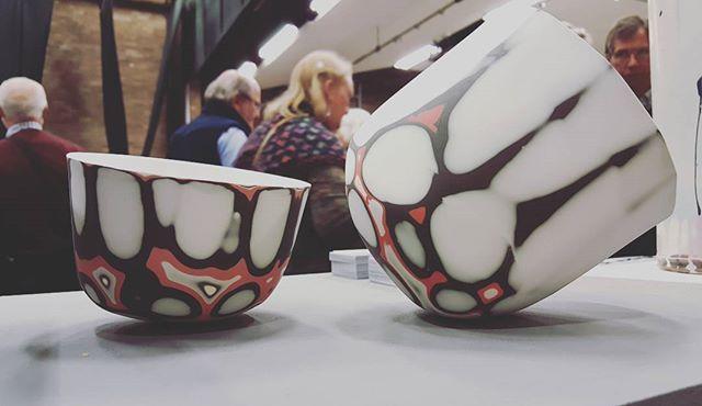 View of the day! @craft_potters_association #madebymanos #contemporaryceramics #clay #porcelain #bonechina #homeware #design #nakedclay #ceramics #handmade #CREmerging #ceramicdesign #blackandred #stoneware #colorful #organic #patterns