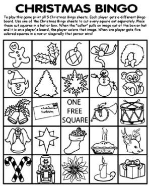 Free, Printable Christmas Bingo Cards for a Family Fun Night: Christmas Bingo Coloring Sheets by Crayola