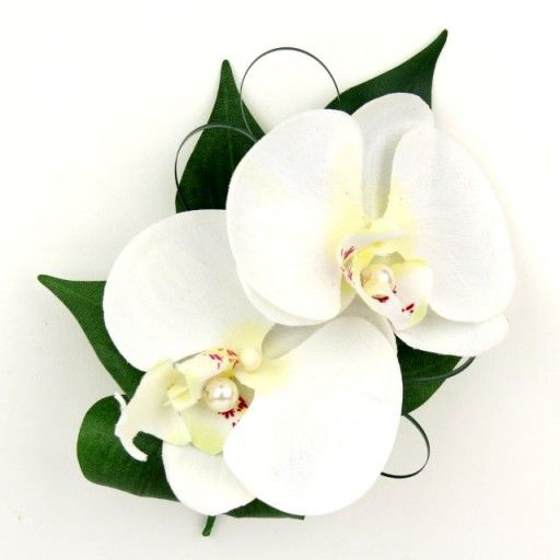 Artificial Silk Wedding Flowers - White Orchid Corsage