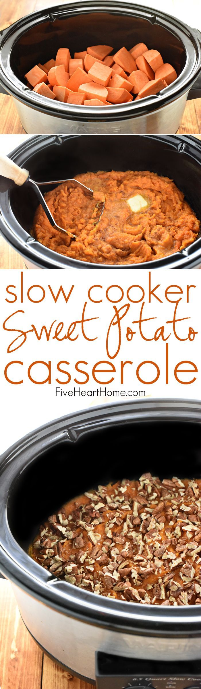 Slow Cooker Sweet Potato Casserole ~ lightly sweetened with maple syrup and topped with toasted pecans, this effortless crock pot recipe is a delicious Thanksgiving side dish that frees up the oven! | http://FiveHeartHome.com