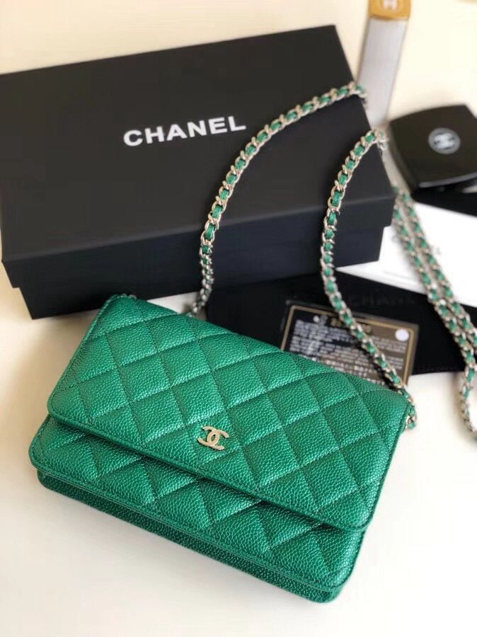 5c5768cb5dd1 Chanel Quilting Pearl Caviar Calfskin WOC Wallet on Chain Bag Green 2018
