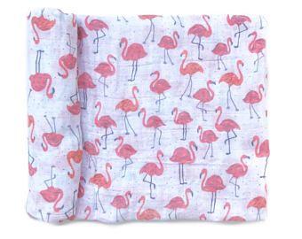 """Mousseline Swaddle deken - FLAMINGO - grote 47 """"x 47""""-mousseline-licht-gewicht swaddle-baby deken-flamingo swaddle deken-meisje swaddle"""