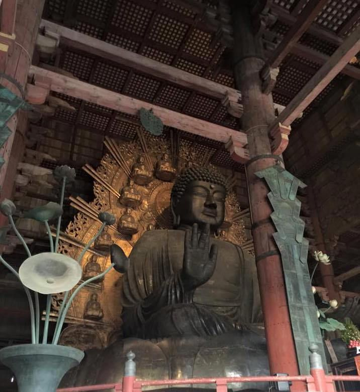Spend some time in Japan's Kansai region. Pay a visit to the freely roaming deer in Nara Park while you visit the Todai-ji temple. Take a peek into New Year's rituals, meals, and more. Pictured here-- Japan's largest Buddha statue at Todai-ji in Nara. www.thepetiteadventurer.com