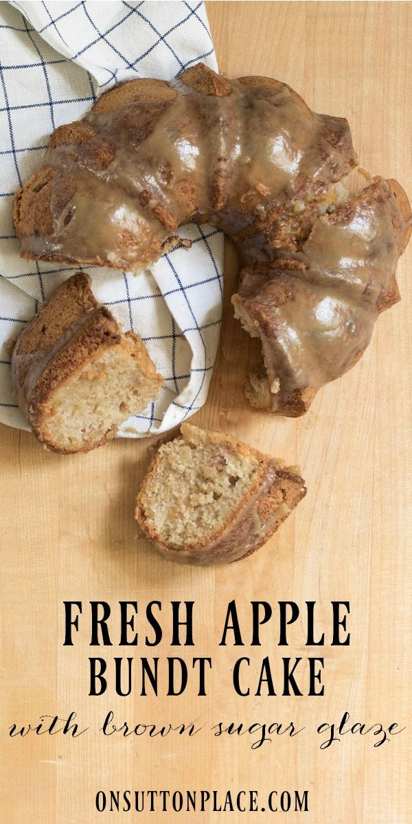 Old Fashioned Apple Bundt Cake with Brown Sugar Glaze | An easy recipe that uses basic pantry ingredients. Fresh apples and a delicious glaze are sure to make this dessert a family favorite!  #Sponsored