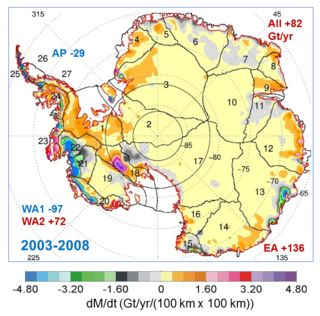 NASA Study: Mass gains of Antarctic ice sheet greater than losses. Map showing the rates of mass changes from ICESat 2003-2008 over Antarctica.