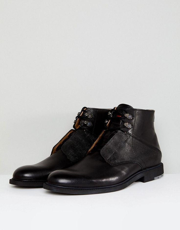 BOSS Orange by Hugo Boss Cultroot Leather Boots in Black - Black