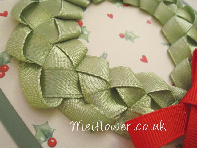 Christmas Wreath Made With Sage Green Satin Ribbon Bjl