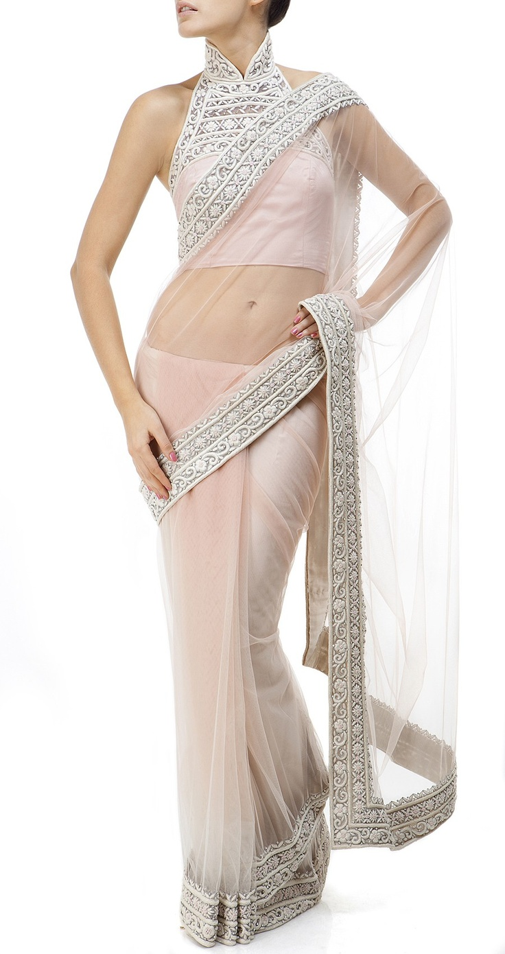 blush pink net saree / sari with blouse