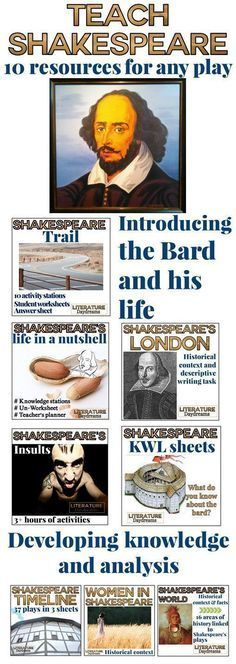 Teaching Shakespeare? These 10 resources can be used with any Shakespeare play. That's right - 10 activities for any Shakespeare play! They will help your students understand Elizabethan England and Shakespeare's life. Not only this – your students will develop their ability to understand and analyze Shakespeare's language, then they can get stuck into Shakespeare's insults, and create some awesome descriptive writing.