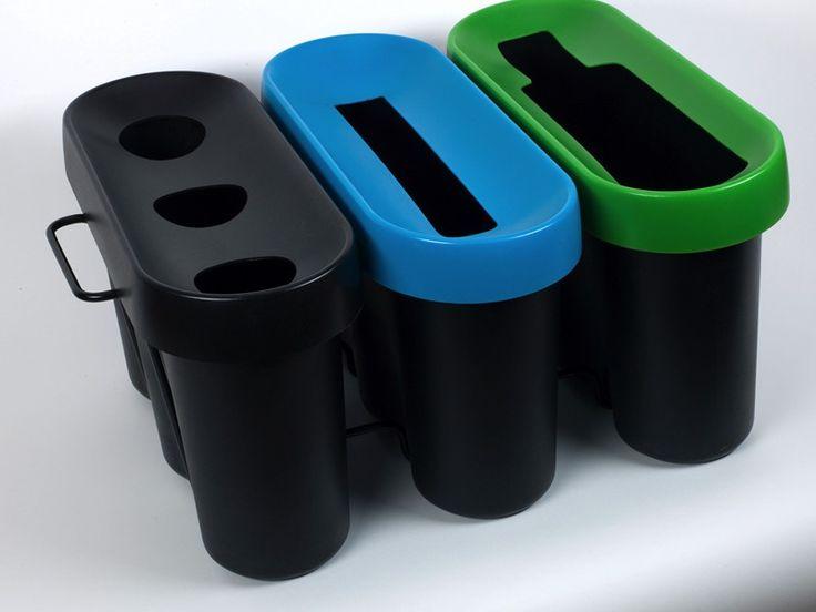Une poubelle de tri 3 bacs avec un collecteur de gobelets, une corbeille à papier et un bac verre. 2 poignées pour faciliter la manipulation http://www.selectibox.com