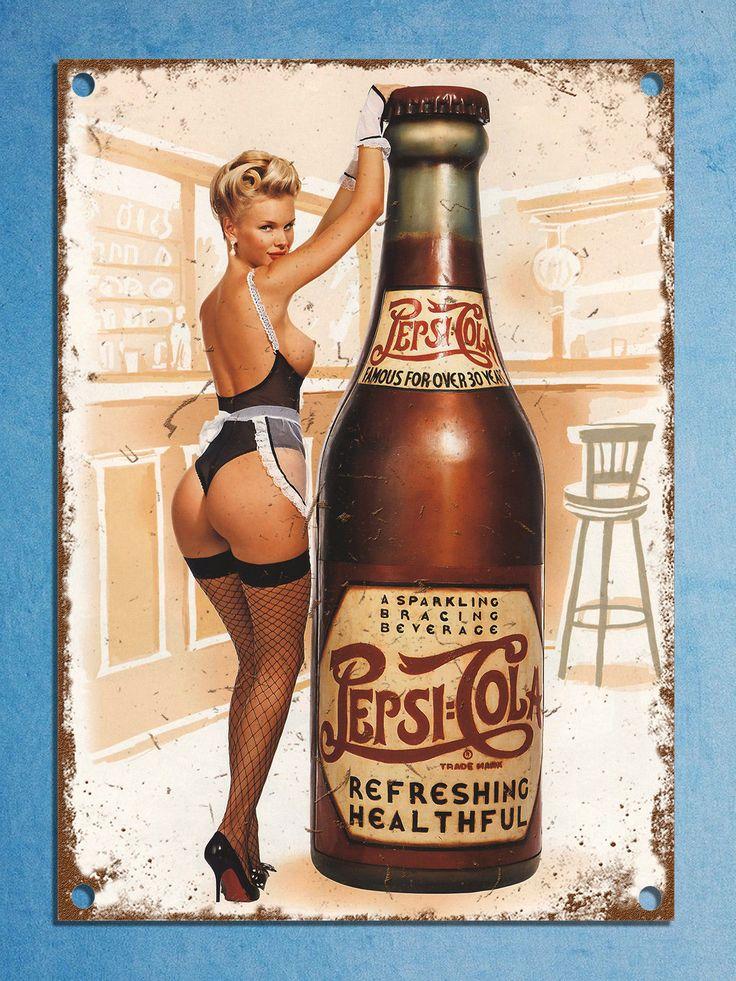 Pepsi pin up vintage retro style plaque kitchen pub bar metal sign tin man cave   eBay