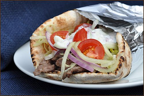 This is an imitation Gyro, made with sirloin instead of the traditional lamb, and the seasoning is a Greek mix that you can buy at any market. The sauce is an authentic yogurt mixture. They are simple, quick, and incredibly tasty.