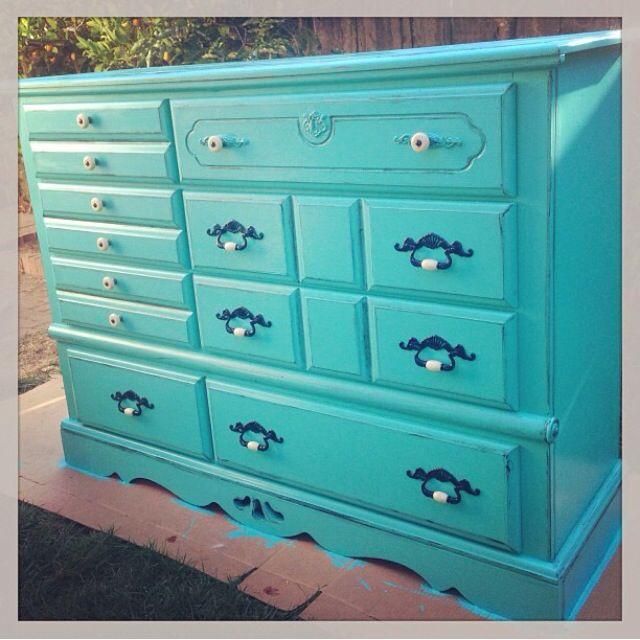Diy Dresser Makeover Turquoise