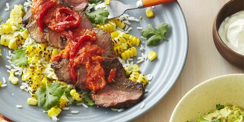Mexican steak fiesta with chargrilled capsicum sauce