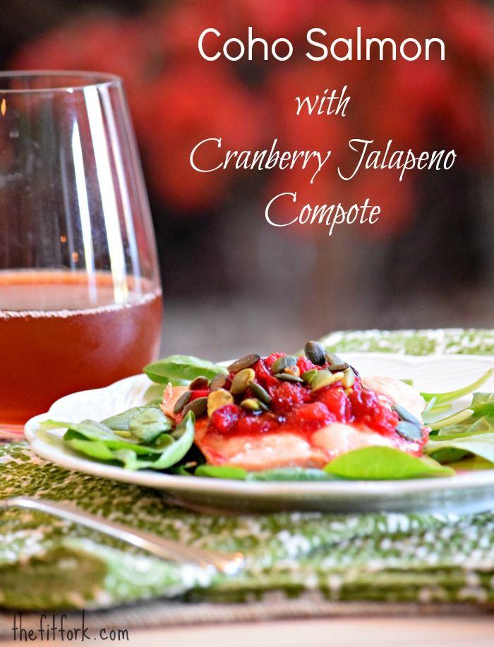 Coho Salmon with Cranberry Jalapeno Compote - TheFitFork.com