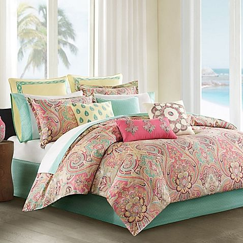 brighten up your bedroom with the lively echo design guinevere comforter set decked out in swirls of floral medallions and paisleys in shades of pink