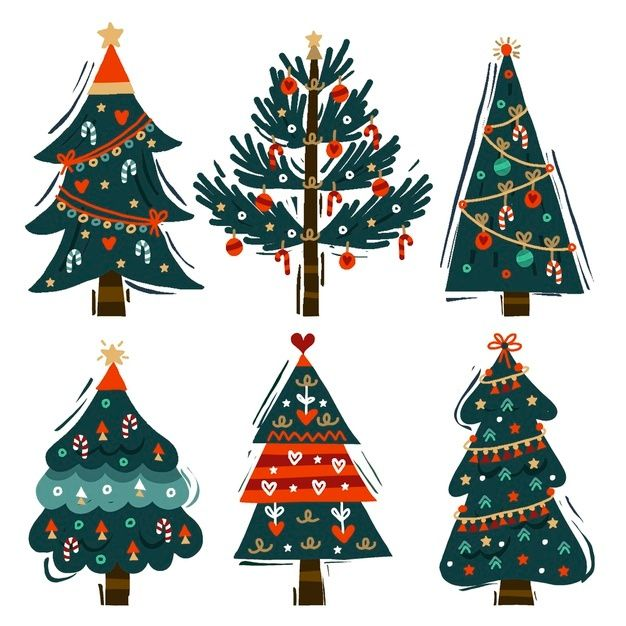 Download Hand Drawn Christmas Tree Collection For Free In 2020 Christmas Tree Collection Christmas Tree Decorations Watercolor Christmas Tree