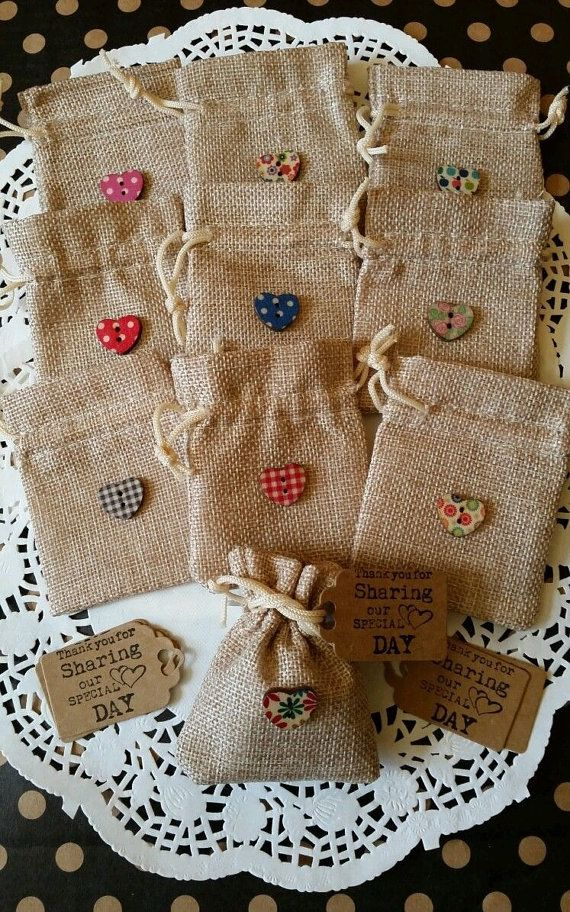 10 RUSTIC VINTAGE WEDDING-hessian favour bags/ with wooden heart buttons