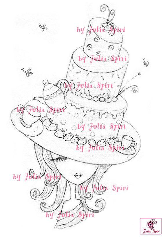 Digital Stamp Digi Coloring Hat stamps Cake stamp by JuliaSpiri