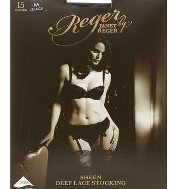 Reger by Janet Reger  Womens Designer Black Sheer 15D Lace Top Stockings M From our exclusive designer Reger by Janet Reger, these black stockings have a sheen look sheer 15 Denier leg with a deep lace trim to the top. http://www.comparestoreprices.co.uk/designer-lingerie-