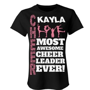 Kayla cheer shirt | A wonderful shirt for any cheerleader. Beautiful colours to choose from and you can even customize it by changing the name to make it yours. You will love it!
