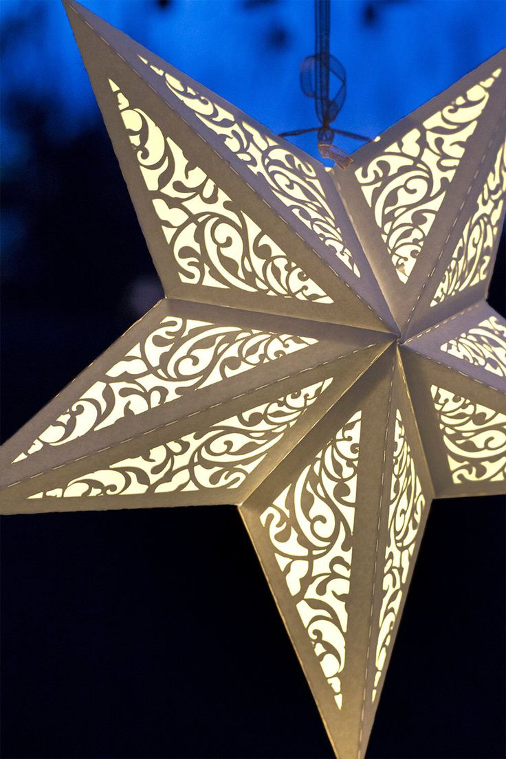Paper stars how to make 5 pointed 3 d craft thyme - New Paper Star Lantern W Flourishes Svg Cutting File Pdf Special Occasion Luminary