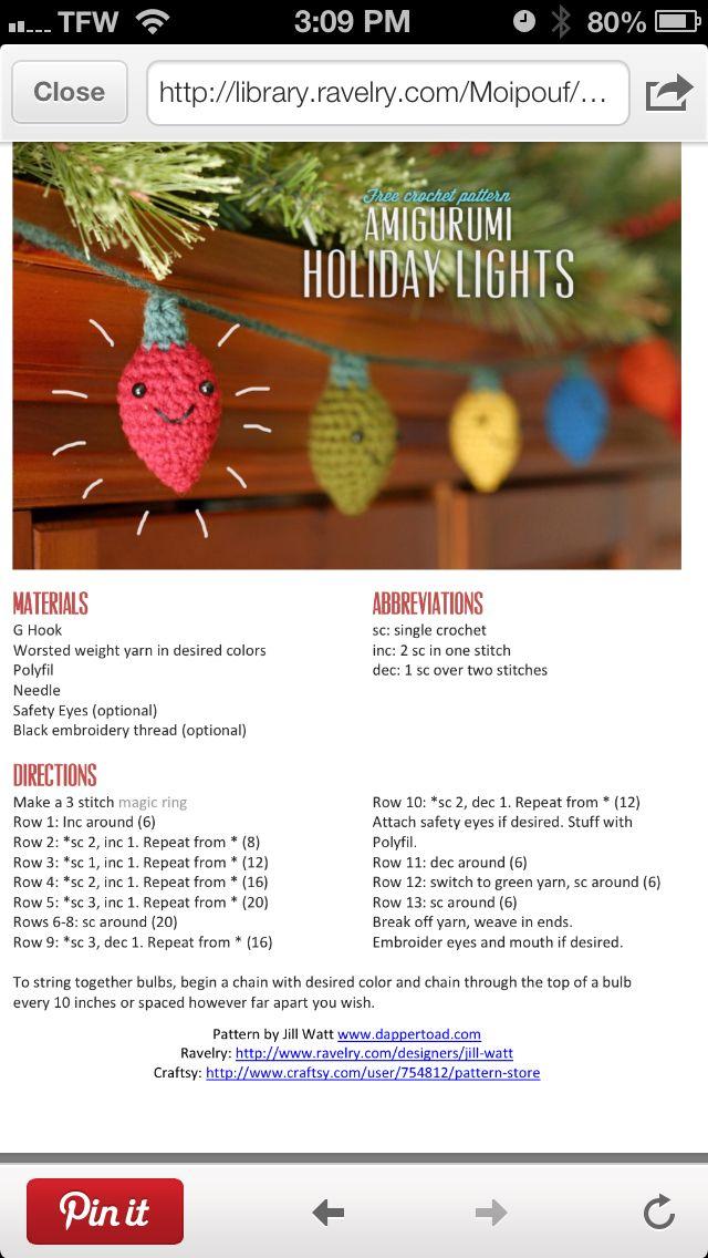 Crochet Christmas Lights Garland - Tutorial ❥ 4U // hf