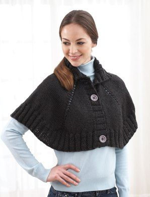 Top Down Button Front Capelet in Bernat Alpaca. Discover more Patterns by Bernat at LoveKnitting. The world's largest range of knitting supplies - we stock patterns, yarn, needles and books from all of your favorite brands.