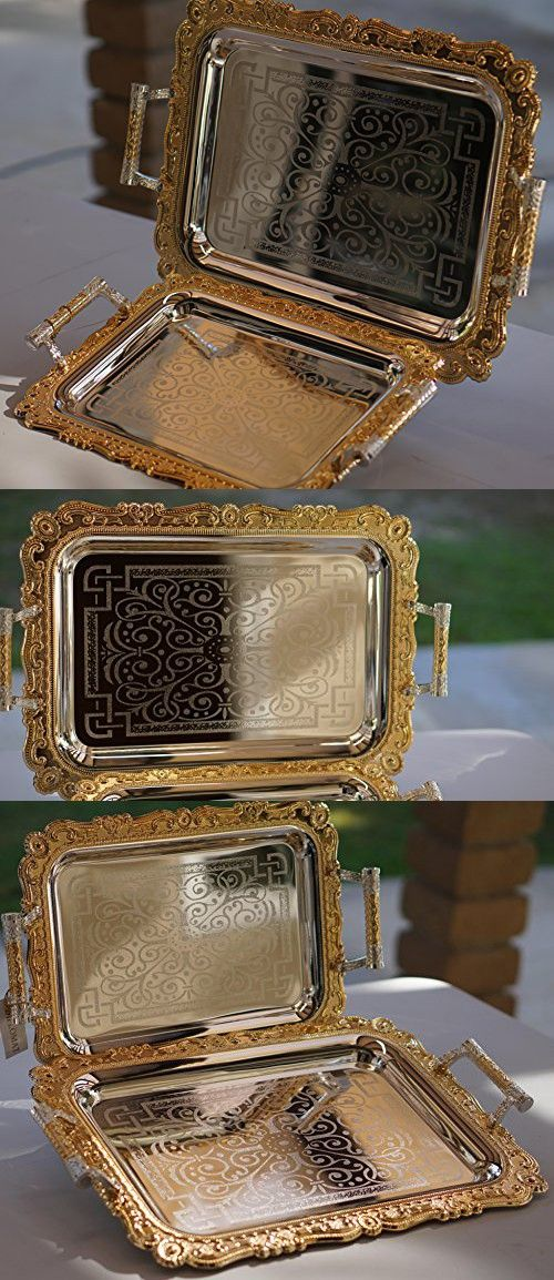 Home N Kitchenware Collection (2 Piece Set) Decorative Food/Coffee Serving Tray, Charger Plate, Mediterranean Design, Centerpieces/Home Dcor Accents, Many Designs (Silver/Gold Design 3)