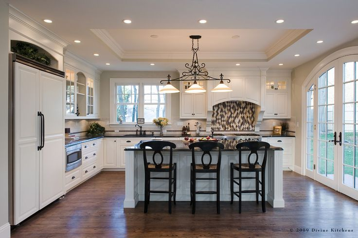 tray ceiling Kitchen Traditional with built in sink black granite