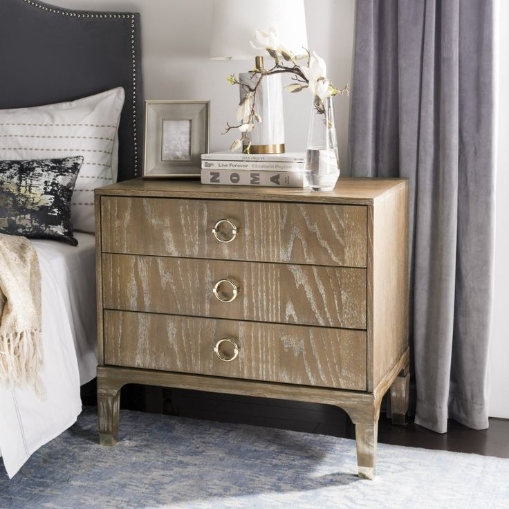 This Contemporary Night Stand Comes From Safaviehu0027s Lorna 3 Drawer  Collection. Round, Gold Handles Are A Chic Accent Against The Rustic Oak  Finish, ...