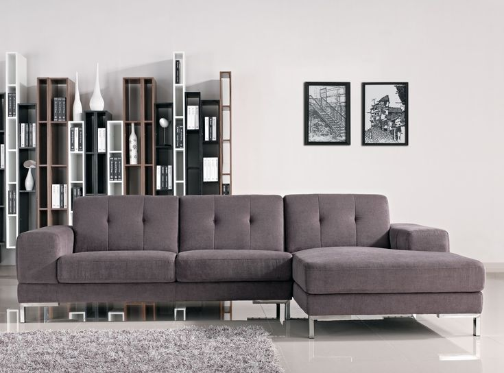 Forli L Shape Gray Fabric Sectional Sofa