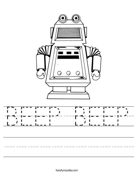 Robot with Square Head Worksheet | Thema